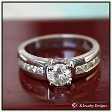 1.30 CT FOREVER ONE MOISSANITE ROUND SEMI ETERNITY CHANNEL ENGAGEMENT RING