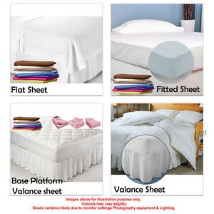 Extra Deep Fitted Bed Sheets Valance Flat King Size 100% Polycotton Colours