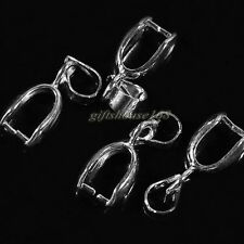 16x6mm Silver Plated Copper Pendant Pinch Bails Clasps Connector 50pcs