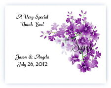 100 Custom Personalized Purple Floral Flowers Wedding Bridal Thank You Cards