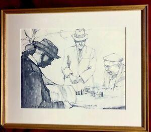 CHESS GAME, Original lithograph, CORTLAND BUTTERFIELD 1914-1977, MINT.