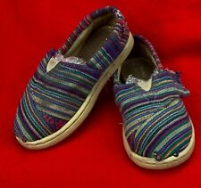 TINY TOMS Shoes Cotton Canvas Fabric Girls Size T 6 Slip On Loafers Purple Pink