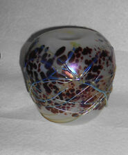 Vintage Loren Chapman 1978 Laguna Beach CA Art Glass Threaded Iridescent Vase
