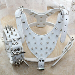 New White Leather Spiked Studded Dog Collar Harness Set Pitbull Husky Terrier