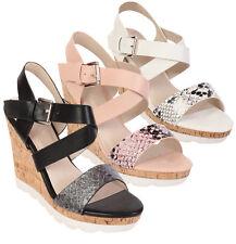 Womens Ladies Cork Wedge Strappy Shoes Slingback Peep Toe Wedge Sandals