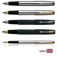 Parker Frontier Fountain Pen Stainless Steel & Matte Black Chrome and Gold Trim
