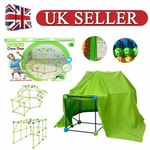 87 Pcs Build Your Own Den Set Kit Present Children DIY Tent Funy Gift Kids UK.