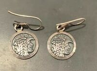 "Vintage Estate Mexico Sterling Earrings sterling 950 Aztec profile 5/8"" Diameter"