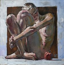 Nude with pomegranate woman girl etude by AVDEEV RUSSIAN Original oil Painting