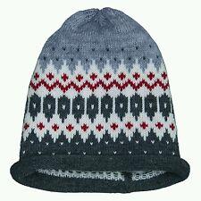 NWT NEW Monnalisa Hitch Hiker boys gray white red intarsia beanie hat 2-6y