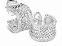 DAVID YURMAN WHEATON CABLE 15MM HOOP DIAMOND STERLING SILVER EARRINGS