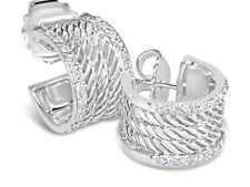 DAVID YURMAN WHEATON CABLE 15MM HOOP DIAMOND STERLING SILVER EARRINGS