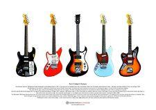 Kurt Cobain's Guitars ART POSTER A3 size