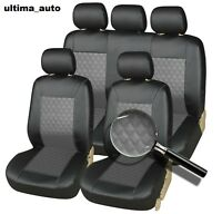 Full Set Black Grey Leather Look Car Seat Covers Pet Dog Washable 9 Pieces Set