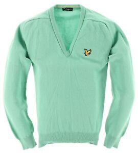 Lyle & Scott Herren V-Neck Pullover Sweater Gr.L 100% Schurwolle Grün 117443