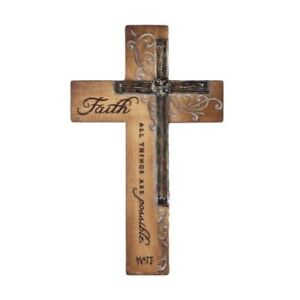 Intaglio Resin Wall Cross - Faith - All Things