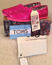 NWT Youth Kids TOMS Classic HOT PINK GLITTER Slip on Casual Shoes Girls 4 1/2