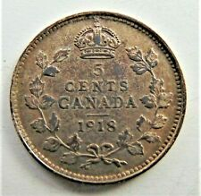 1918 CANADA, George V silver 5 Cents, grading Good FINE.