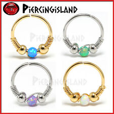 Handmade Opal Nose Ring Hoop Beaded Ear Cartilage Helix Tragus Earring Piercing