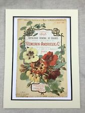 Vintage French Print Flowers Seed Advert Victorian French Art Vilmorin Andrieux