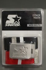 Starter Youth 2-Pack Web Belts, Black & Red, New