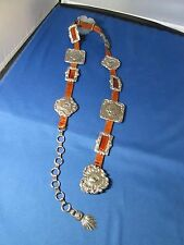 """BRIGHTON brown leather belt silver conchos 30"""" - 35"""" cowgirl"""
