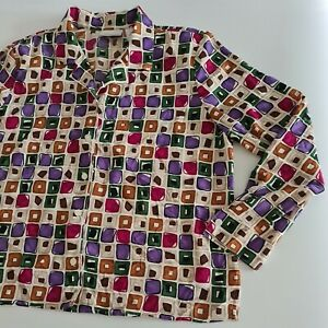 Vintage 90s Alfred Dunner Women Blouse Top Abstract Print Collar Petite 16 XL