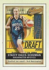 2002 WNBA FLEER AUTHENTIX STACEY DALES (SCHUMAN) ROOKIE CARD 1584/2002 MYSTICS