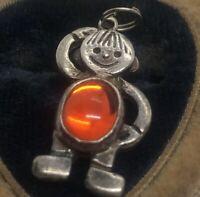 Vintage Sterling Silver Necklace 925 Pendant  Signed EFS Person Orange