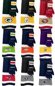 NFL Team Knit Scarf & Gloves Gift Set (100% Authentic Lisensed)
