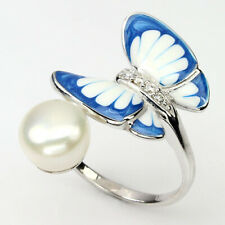 Ring Schmetterling Perle weiß & CZ 925 Silber 585 Weißgold vergoldet Gr. 53
