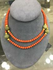 Genuine Natural Coral Bead no dye & Hard Stone Necklace w/14K gold Bead accents
