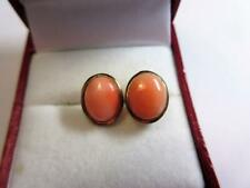 VINTAGE CONTINENTAL SILVER & GOLD CORAL STUD EARRINGS!