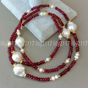 2x4mm Faceted Red Garnet Gems & White Keshi Baroque Pearl Long Necklaces 25-55''