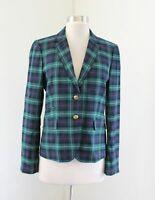 J Crew Factory Blue Green Blackwatch Plaid Blazer Jacket Schoolboy Size 4 Wool
