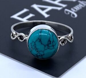 925 Stamped Sterling Silver Ladies Turquoise Ring Jewellery Round Gemstone Gift