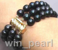 3 ROW 7.5 INCH AAA 7-8MM TAHITIAN BLACK PEARL BRACELET NEW