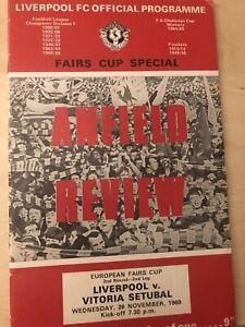 Liverpool v Vitoria Setubal Inter-Cities Fairs Cup Programme Season 1969-1970