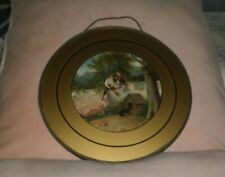 """Antique Victorian Boys & Dogs Lithograph Chimney Flue Cover 9 1/2"""""""