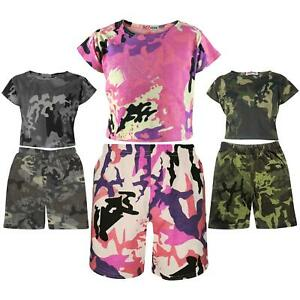 Kids Girls Crop Top & Cycling Shorts Camouflage Print Summer Outfit Clothing Set
