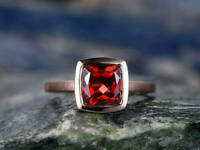 2.00 Ct Cushion Cut Diamond Red Ruby Bezel Engagement Ring 14K Rose Gold Finish