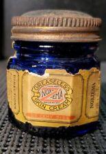 Vintage Noxzema Jar Octagonal Cobalt Blue Glass with Paper Label Rare 1920s Read