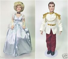 """DISNEY'S LIMITED EDITION CINDERELLA AND THE PRINCE PORCELAIN DOLL SET 21"""" USED"""