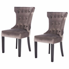 Set of 2 Dining Chair Tufted Upholestered Armless Accent with Solid Wood Legs