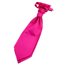 DQT Satin Plain Solid Hot Pink Wedding Pre-Tied Mens Cravat Free Pin
