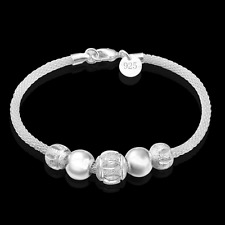 Vogue Jewelry 925 Silver Plated Unisex Beads Pendant Bracelet Bangle Hand Chain