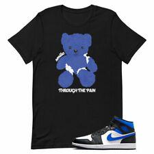 T shirt for Air Jordan 1 Mid Racer Blue White Hyper Game Royal Black Smile
