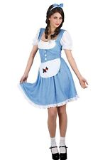 Ladies Blue & White Country Girl Fancy Dress up Party Halloween Costume Outfit