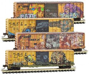Micro-Trains MTL N-Scale 50ft Railbox Box Cars - Monkey Graffiti/Weathered 4-Pk