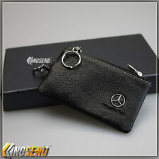 Mercedes Benz Genuine Cow Leather Car Key Bag Remote Cover Fob Holder Case Ring